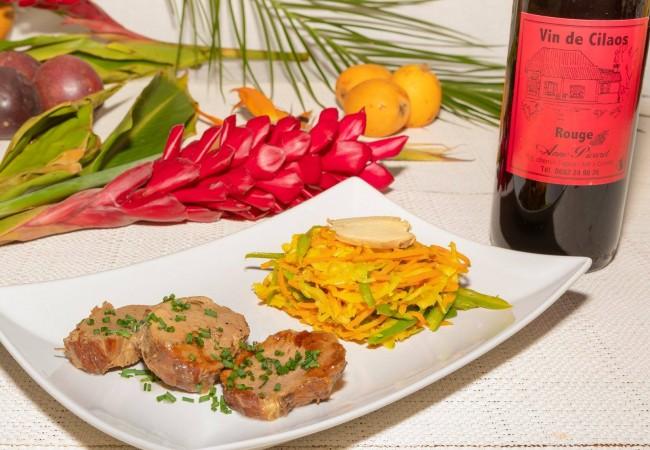 achard de légumes et rôti porc créole