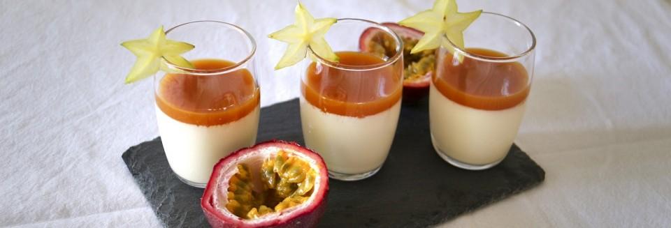 panan cotta à la vanille Bourbon et coulis de mangue
